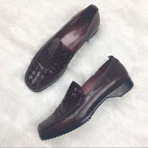 Meucci | Brown Woven Leather Loafers  8 M